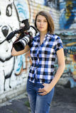Girl reporter Royalty Free Stock Images