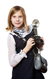 Girl reporter photographer with retro camera and flash Royalty Free Stock Photos