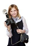 Girl reporter photographer with retro camera and flash Royalty Free Stock Images