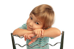 Girl repose head on chair back Stock Photo