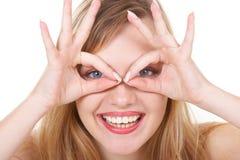 Girl represents glasses. The girl represents glasses on eyes Stock Photo
