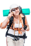 Girl researcher in hike with magnifier on white Stock Photography