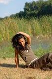 Girl at reservoir  Stock Image