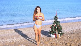 Girl on the resort to the new year with a Christmas tree on the sea. 1 stock video