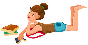 Girl rest with book stock illustration