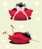 Girl rest in red pouffe Stock Images