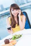 Girl at restaurant Royalty Free Stock Photos