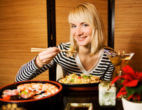 Girl in a restaurant royalty free stock photo
