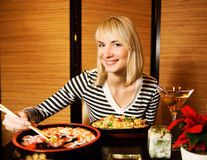 Girl in a restaurant Royalty Free Stock Images