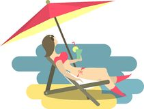 Girl Resting On The Beach Royalty Free Stock Photo