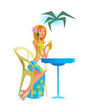 Girl is resting in cafe, drinking cocktail. Summer rest, relaxation. Royalty Free Stock Photography