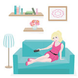 Girl resting on couch Royalty Free Stock Photo