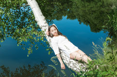 Girl resting on the nature. Royalty Free Stock Photos
