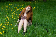 Girl resting outdoor Royalty Free Stock Images