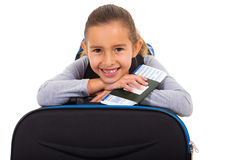Girl resting suitcase Royalty Free Stock Image