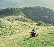 Girl resting on summer meadow Stock Images