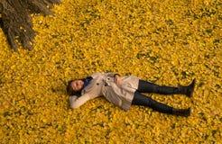 Girl resting under Ginkgo tree Stock Photo