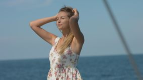Girl resting on the yacht stock video footage