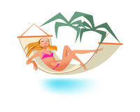 Girl rests on sea, sunbathing, relaxes lying in hammock. Summer tropical travel, holiday and vacation. Beautiful girl rests on the sea, sunbathing in the sun Stock Image