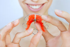 girl with retainer on teeth Royalty Free Stock Photo