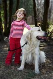 Girl with retriever Royalty Free Stock Image
