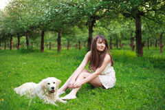 Girl and retriever in park Stock Photography