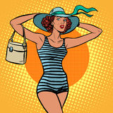 Girl retro bather Royalty Free Stock Images