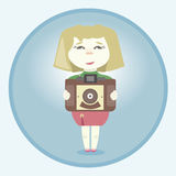 Girl with retro camera Royalty Free Stock Image