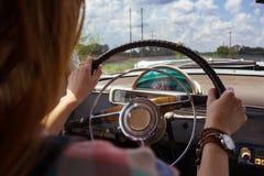 Girl and retro car Royalty Free Stock Photos