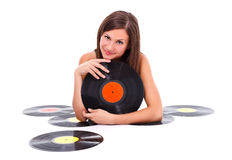 Girl with retro discs Royalty Free Stock Photos