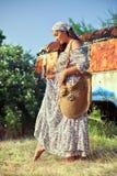 Girl in retro dress Royalty Free Stock Image