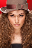 Girl with retro hat Stock Photo