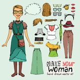 Girl in retro or hipster style. With elements of clothing for infographics Royalty Free Stock Image