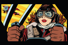 Girl retro military pilot Royalty Free Stock Photos