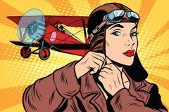 Girl retro military pilot Royalty Free Stock Photo