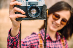 Girl with retro photo camera Royalty Free Stock Photo
