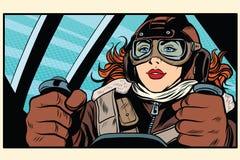 Girl retro pilot on the plane royalty free illustration