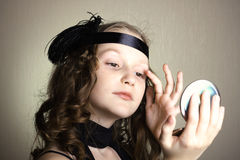 Girl at the retro style Stock Photo