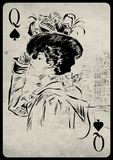 The girl in retro style. Playing card. Stock Photo