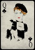 The girl in retro style. Playing card. Royalty Free Stock Photography