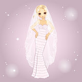 Girl In Retro Wedding Dress Royalty Free Stock Photo