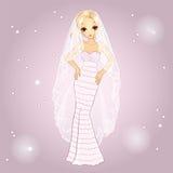Girl In Retro Wedding Dress Royalty Free Stock Photo