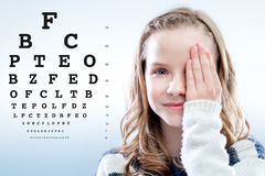 Girl Reviewing Eyesight. Royalty Free Stock Photography