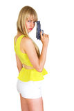 Girl with revolver Royalty Free Stock Images