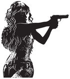 An Girl with the Revolver, Shooter - Hand drawn vector Stock Images