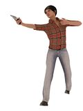 Girl with revolver. Young woman in denim jeans wielding revolver Royalty Free Stock Photography