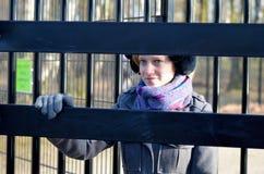 Girl in Revolving door Royalty Free Stock Photos
