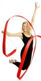 Girl on rhythmic-sportive gymnastics. On white background Stock Photography