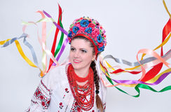 Girl with ribbon Stock Images
