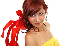 Girl with ribbon. A girl with ribbon falling around her head Stock Photos